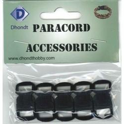 Paracord sluiting 10 mm 5 st, zwart