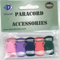 Paracord sluiting 10 mm 5 st, basic mix