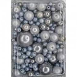Imitation pearl mix 50 gr, Grey