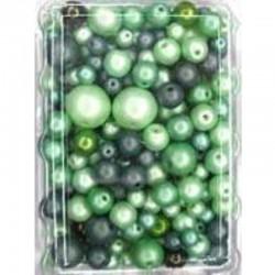 Imitation pearl mix 50 gr, Green
