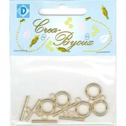 Ring/Bar clasp 5 pcs Brass