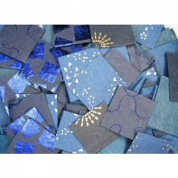 Natural paper scraps 50 gr (200-250 pcs) Blue