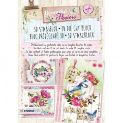 Stansblok A4, 12 vel voorgesneden, Beautiful Flowers