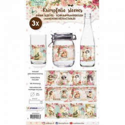 Shrink sleeves, 31.5 x 9 cm, 3 pc, Shabby Chic