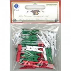 Micro wasspeldjes 2.5 cm 30 st Wit, rood, groen