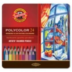 Polycolor colorcrayons, Tin Box à 24 pcs