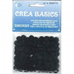 Pompon 7 mm 100 pcs black