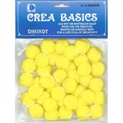 Pompon 25 mm 40 pcs yellow