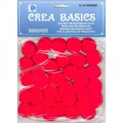 Pompon 25 mm 40 pcs red