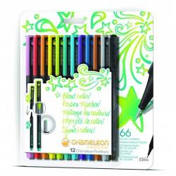 Chameleon Fineliner 12-Pen Bright Colors Set
