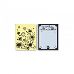 Text. Imp. Emboss. Folders 2PK° - Vintage Buttons Set °