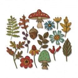 Thinlits 16 pcs Tim Holtz, Funky foliage 3.49x2.86-1.27x0.64cm