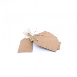 Kraft cardboard tag with eyelet and cord 5x9cm 20pcs