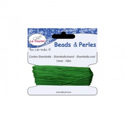 Carded shamballa cord 1mm x10m green