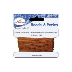 Carded shamballa cord 0,5mm x10m brown