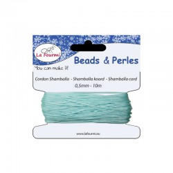 Carded shamballa cord 0,5mm x10m light blue