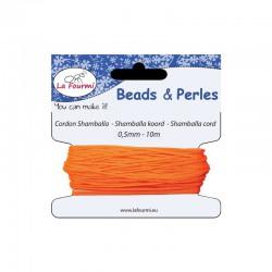 Carded shamballa cord 0,5mm x10m fluo orange