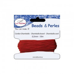 Carded shamballa cord 0,5mm x10m red