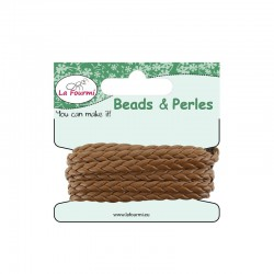 Carded flat braid 5mm x3m brown
