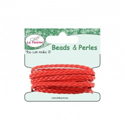 Carded flat braid 5mm x3m red