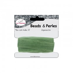 Card organza ribbon 12mm x5m green