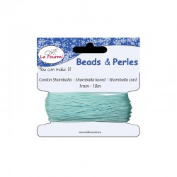 Carded shamballa cord 1mm x10m light blue