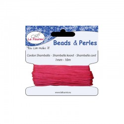 Carded shamballa cord 1mm x10m hot pink