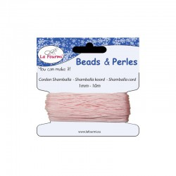 Carded shamballa cord 1mm x10m pink