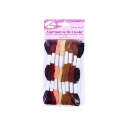 Assort. Embroidery floss 8mm brown/red (8 pcs)