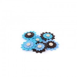 Carded 6 large felt flowers, blues 42mm°