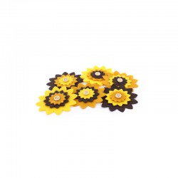 Carded 6 large felt flowers, yellows 60mm°