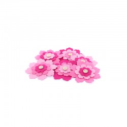 Carded 6 large felt flowers, pinks 65mm°