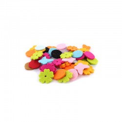 Assort. Felt flowers/rounds/butterflies (50 pcs)