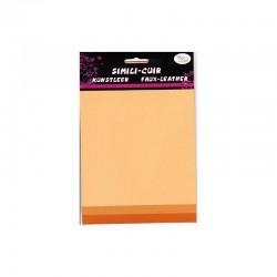 Faux leather 16x20cm x3 sheets peach/coral/orange