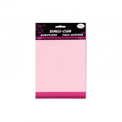 Faux leather 16x20cm x3 sheets pink/fuchsia/raspberry