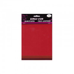 Faux leather 16x20cm x3 sheets red/burgundy/rust
