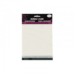 Faux leather 16x20cm x3 sheets pearl/silver/hematite
