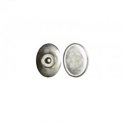 Click'on setting oval 25x18mm, rhodium 5pcs