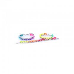 Chain bracelet silv. with multicolor cord x10pcs 15cm