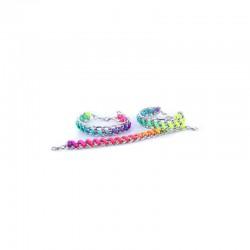 Chain bracelet double silv. with multicolor cord  x10pcs15cm