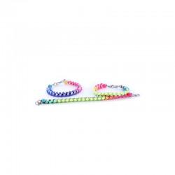 Chain bracelet square silv. with multicolor cord x10pcs 15cm