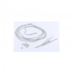Assort. Rings/headpins/chain 92cm silver