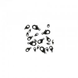 Assort. Carabiner clasps & tags Black (10 pcs)