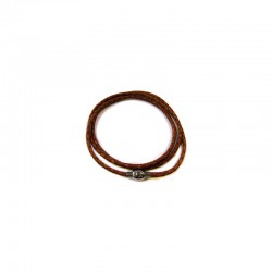 Bracelet/chain braided leather magnetic clasp 64cm Brown°