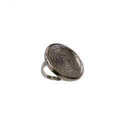 Finger ring round plate for 24mm cab.rhodium x1pc - ON CARD