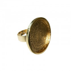 Finger ring round plate for 24mm cab. gold x1pc - ON CARD