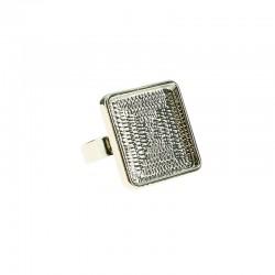 Finger ring square plate 20x20m rhodium x1pc
