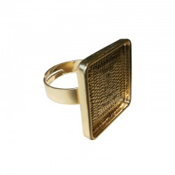 Finger ring square plate 20x20m gold x1pc