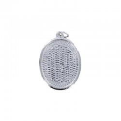 Pendant cup oval 22x30mm rhodium x1pc - ON CARD