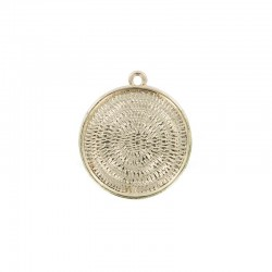 Pendant cup round 24mm gold x1pc - ON CARD